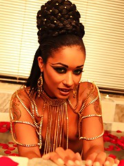 Foxy ebony goddess Skin Diamond shows off her tight black pussy