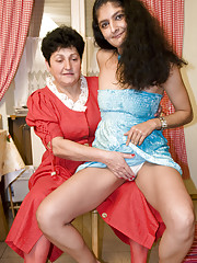 Horny young wench fucks an older woman