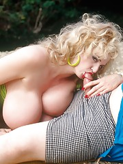 Blonde Chessie and her Amazing Big Boobs Fucking Outdoors