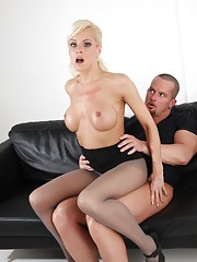 Blonde babe in pantyhose gets fucked