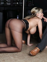 Blonde with huge tits in pantyhose fucked