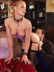 Naughty blonde babe Cathy getting it in the club