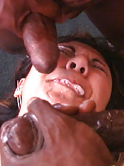 Asian babe in an interracial threesome fuck cumeat