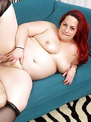 Redheaded plumper sucks her boyfriends dick and makes him fuck her pussy