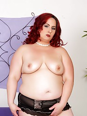 Sexy fat redhead shows you every delectable inch of her chubby fleshy body