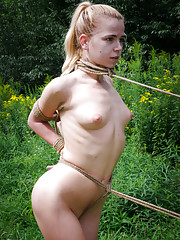 Outdoor bondage is so damn sexy. Its hot to be out in the woods with a beautiful