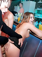Excited pornstars sucking and fucking large pricks in club