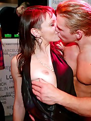Dirty club clicks sucking and fucking hard dicks in public