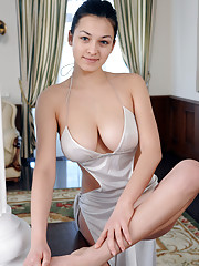 Blessed with enviable flexible body and well-endowed assets Sofi gracefully poses
