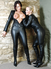 Stunning blondes Frankie and Lucy Zara show off their sexy feline looks wearing tight