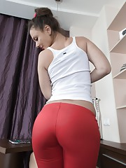 Dea Ishtar is relaxing in her white blouse and red pants. She strips and shows us