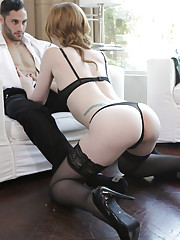Cock craving redhead Katy Kiss gives her man a long lusty blowjob and a horny stiffie