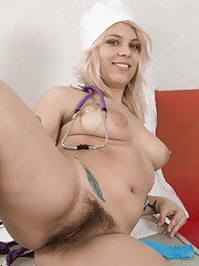 Jill is a sexy natural Doctor and strips her Dr39s gown off to show her hairy body.