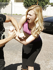 Naughty blonde Alexa Grace tries to fuck and suck her way out of jail time with her