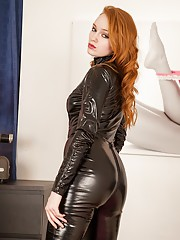 Khloe Kane rocking her crotchless leather Catwoman outfit.