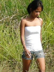 Petite Filipina girl picked up in a field and fucked