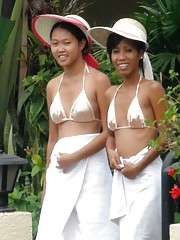 Hot threesome with two Filipina girls after swimming