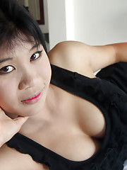 Cute Thai babe with gorgeous big boobs and tight bubble butt gets earns her creampie