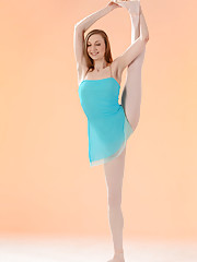 Annett gives a sample of her graceful moves as a ballerina stretching and bending