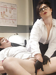 Sexy doctor treats masturbating patient w finger banging vaginal anal speculum exams