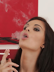 Gorgeous dark haired Alice eats cum after anal