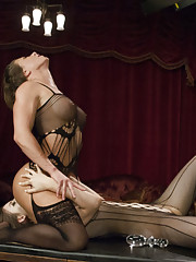 Ariel Strap on fucks Stella with a huge cock to warm her ass up enough to take a