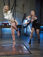 Mona Wales submits to strict dominatrix Mistress Kara with suspension bondage the