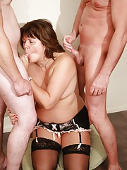 British milf Sandy takes facials