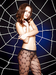 Zlatka A poses in black crotchless pantyhose Russian Federation