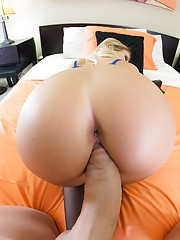 Daisy jumps on his friend cock and she sucks and fuck like the perfect whore wife