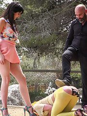 Suspended in rope bondage Max Liz both take turns slapping the fuck out of Nerea