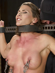 Super buff hard bodied slut in grueling bondage tormented double penetrated and made