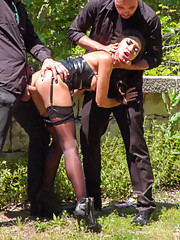 This scene ends up being soo hot for Frida in her tight black dress stockings latex