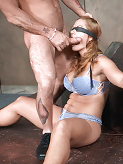 Holly Heart is wearing nothing but sexy lingerie and shes blindfolded. Matt and Sergeant