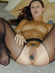 Karlie Montana is going to cripple your cock in her black crotchless pantyhose and