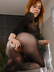 Piss play for beautiful redhead in bodystocking