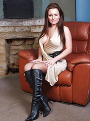 Sexy nylons stockings accompany busty brunette Candis sexy leather boots very nicely