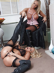 Lucy Zara and Dannii Harwood are leather boot licking sluts having a lot of fun together