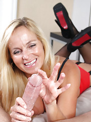 Sexy MILF Dani Dare brings him to the bring of orgasm over and over and finally makes