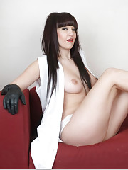 Stunning brunette Sammii Jo wearing gorgeous gloves and showing her big firm breasts