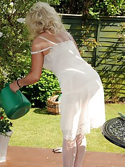 Working in the garden can be very distracting when wearing nylons and in this set