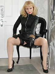 Leather pvc and nylon cock play