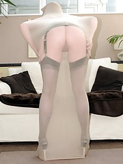 Holly jumped at the chance to get fully encased in nylon and found the silky material