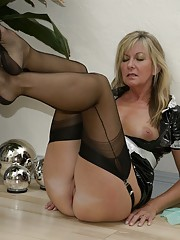 PVC maid gets horny