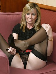 Black fully fashioned nylons and sexy slingbacks are just perfect for Jaydes business