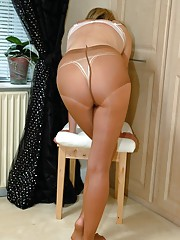 Hot Milf changes from hose to nylon stockings