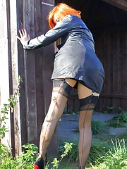 Vixen is back outdoors again and loving this leather and nylons combo. Watch her