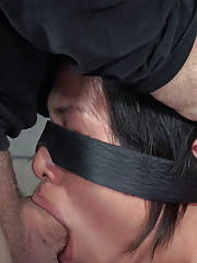Bound in hard metal bent over blindfolded and gagged we start by teasing our nubile
