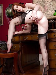 This white witch will enchant you with her black satin sheer nylons and kinky boots!