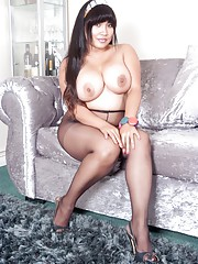 Exotic bundle of pantyhose fun Amy loves to get herself off in her work uniformafter